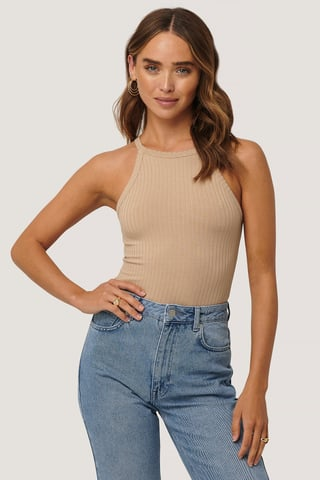 Light Beige High Neck Ribbed Body