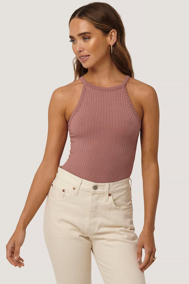 Dusty Dark Pink High Neck Ribbed Body