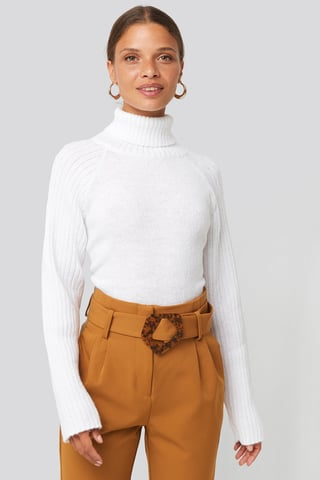 Off White High Neck Ribbed Sleeves Sweater