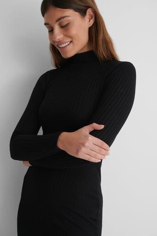 Black Recycled Klänning Med Slits