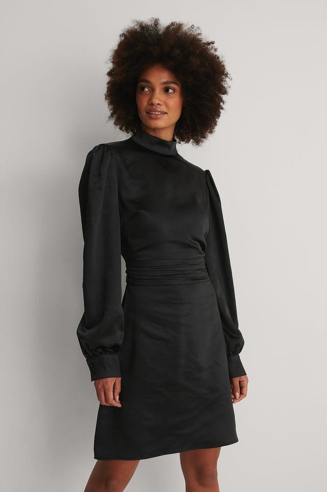 Black High Neck Satin Dress