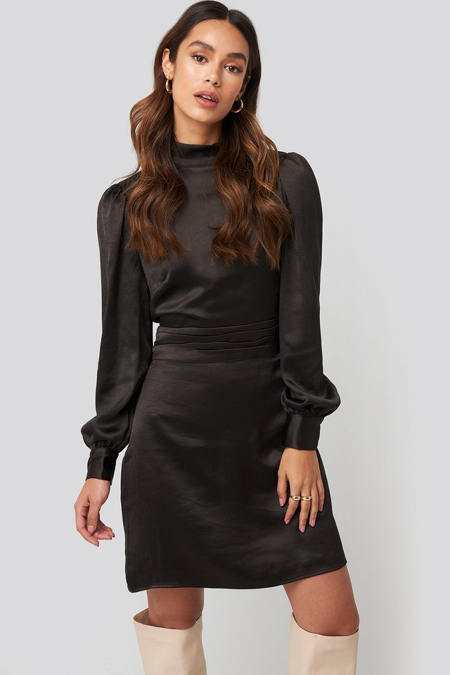 High Neck Satin Dress Black