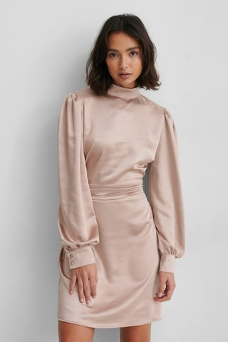 Dusty Dark Pink High Neck Satin Dress
