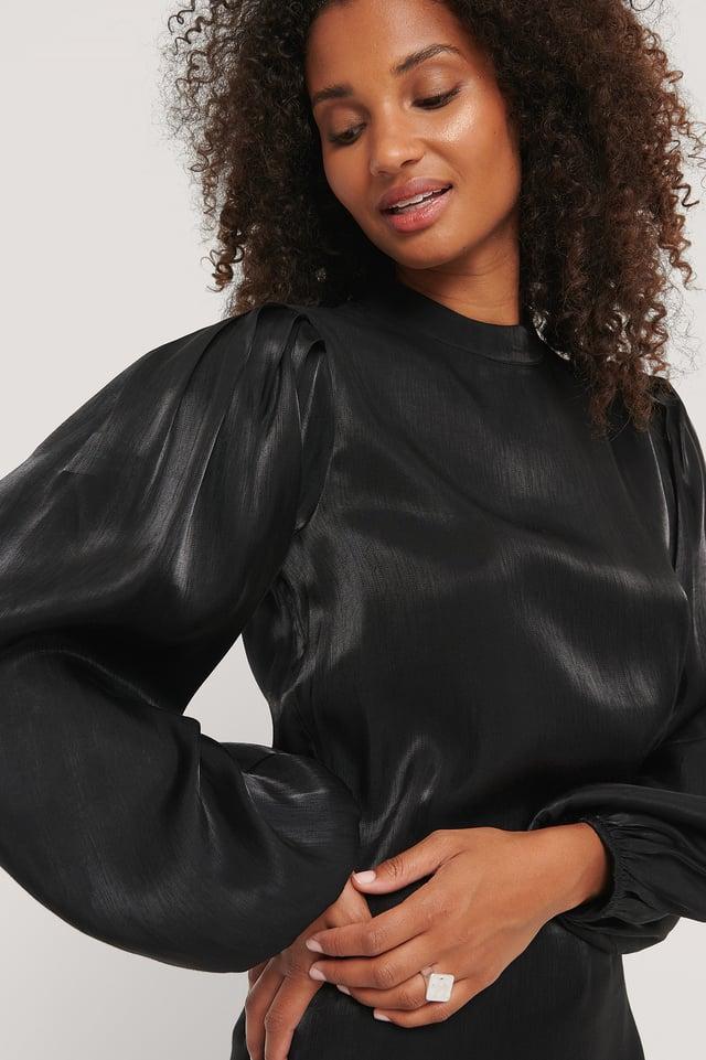 High Neck Shiny Dress Black