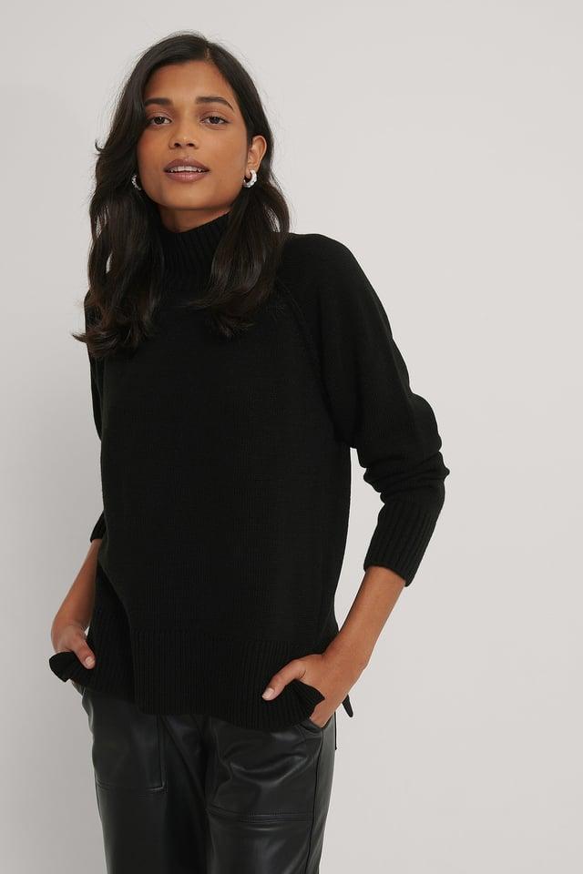 High Neck Side Slit Knitted Sweater Black
