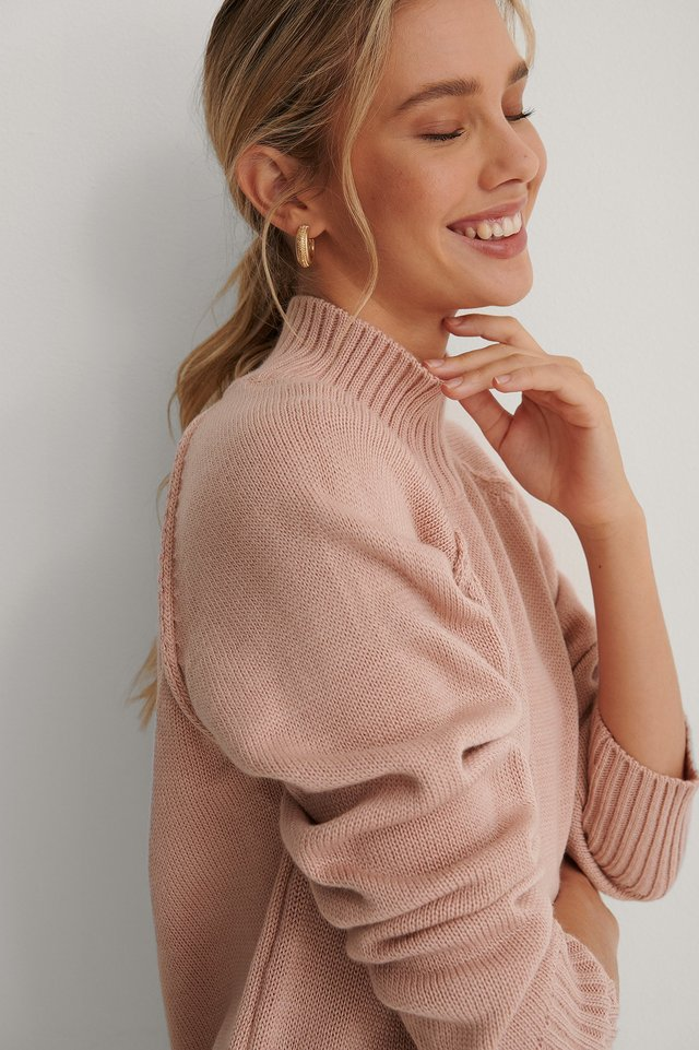 High Neck Side Slit Knitted Sweater Dusty Pink