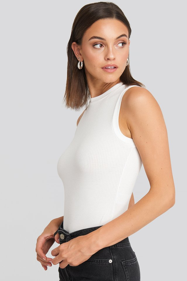 High Neck Sleeveless Body Off White