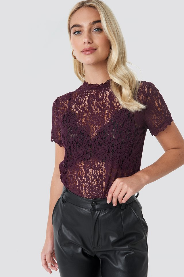 High Neck Short Sleeve Lace Top Dark Purple