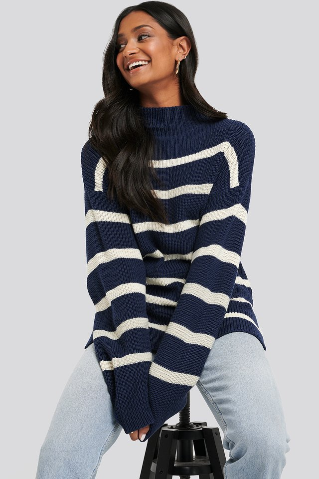 High Neck Striped Knitted Sweater Stripe Navy/Cream