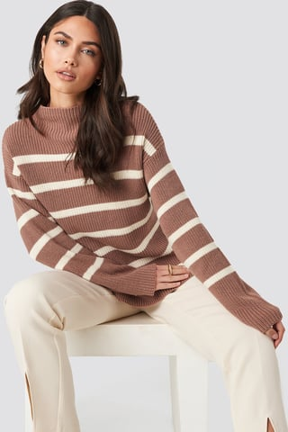 Dusty Dark Pink High Neck Striped Knitted Sweater