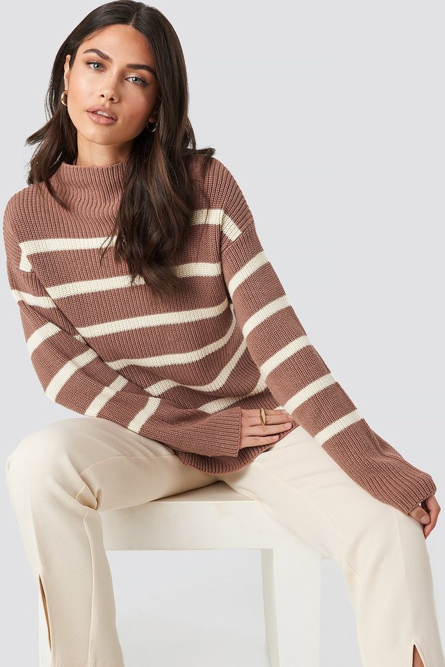 High Neck Striped Knitted Sweater Dusty Dark Pink