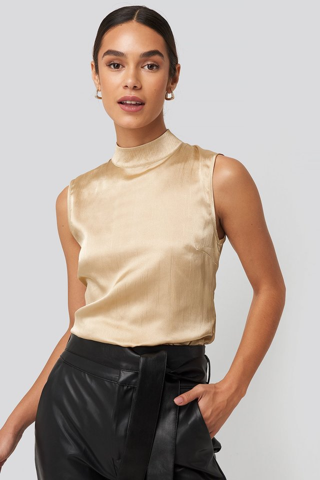High Neck Structured Satin Top Beige