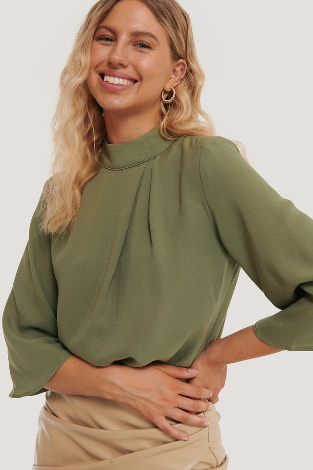 High Neck Wide Sleeve Blouse NA-KD