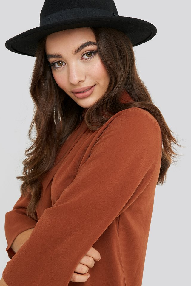 Rust High Neck Wide Sleeve Blouse