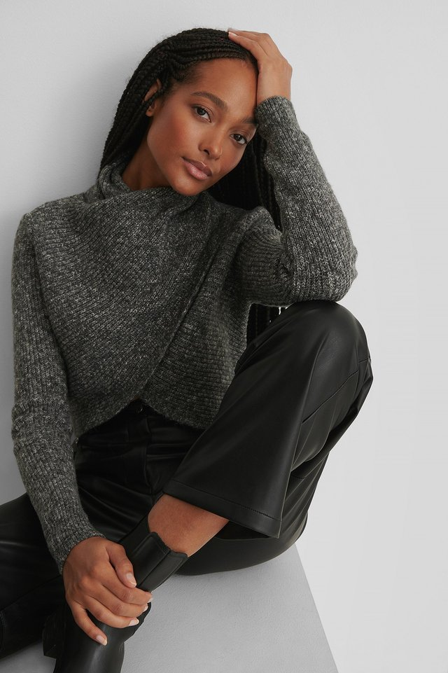 High Neck Wrapped Knitted Sweater Grey Melange