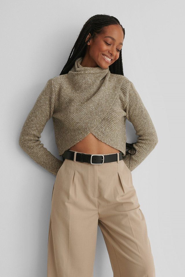 High Neck Wrapped Knitted Sweater Beige Melange