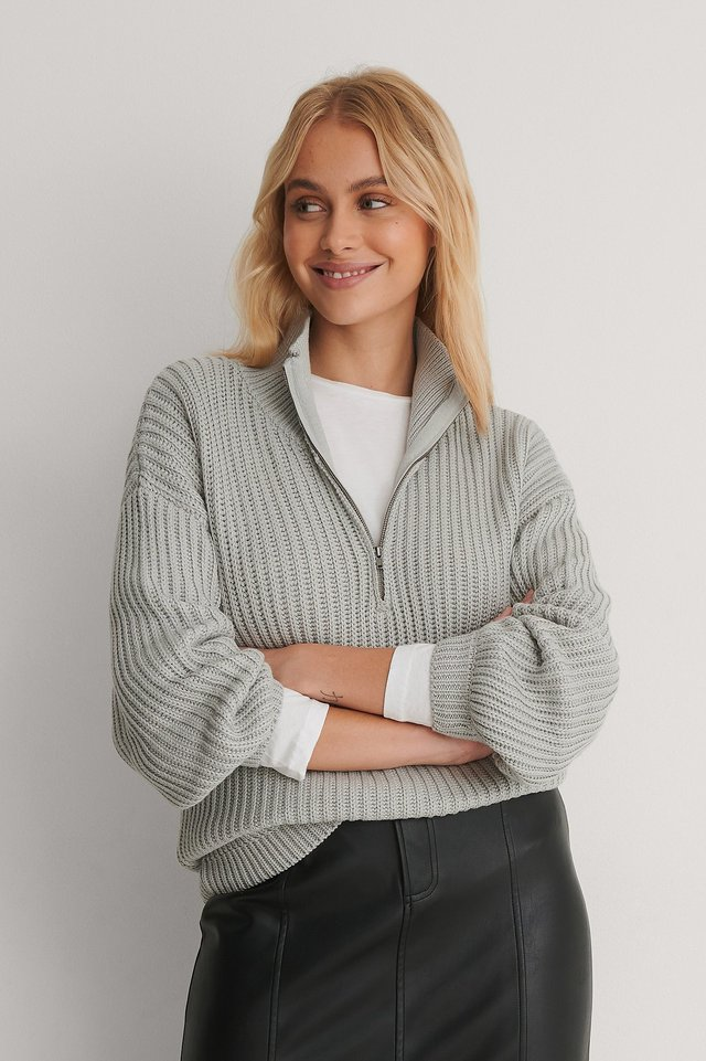 Grey High Neck Zipped Knitted Sweater