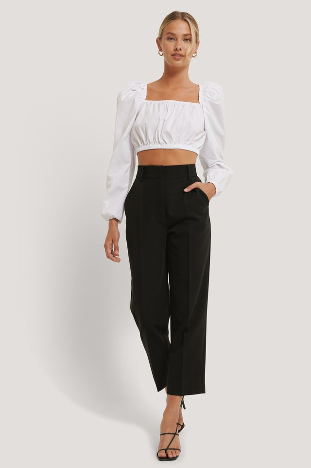 High Rise Cropped Suit Pants Black