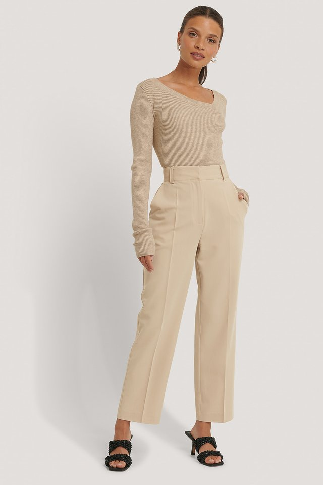 High Rise Cropped Suit Pants Beige