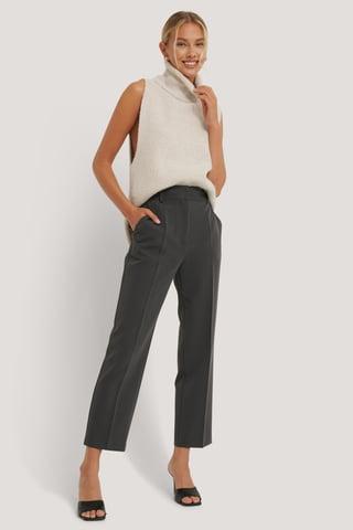 Dark Grey Pantalones De Vestir Cortos De Talle Alto