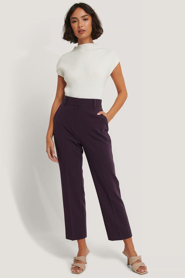 Recycled High Rise Cropped Suit Pants Dark Plum