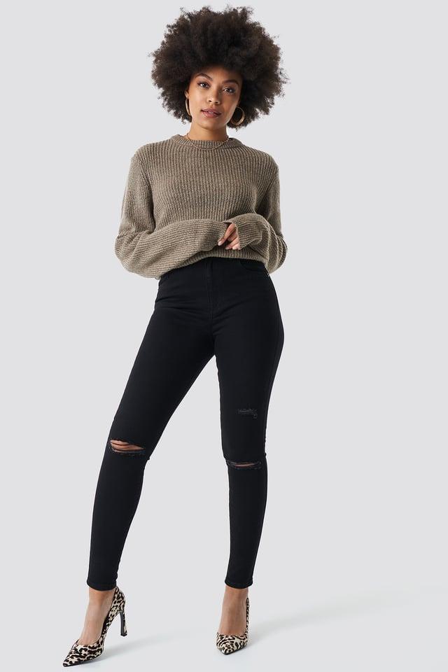 High Waist Knee Rip Super Skinny Jeans Black