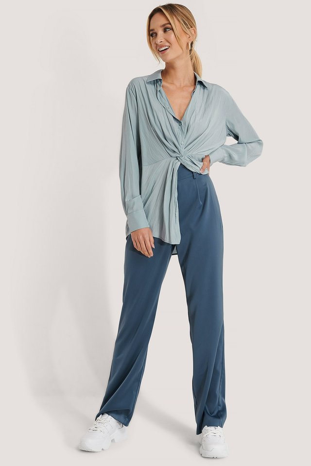 High Rise Satin Pants Dusty Blue