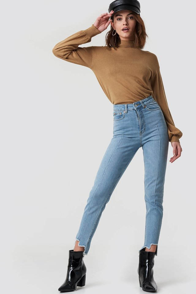 High Rise Slim Asymmetric Hem Jeans Light Blue