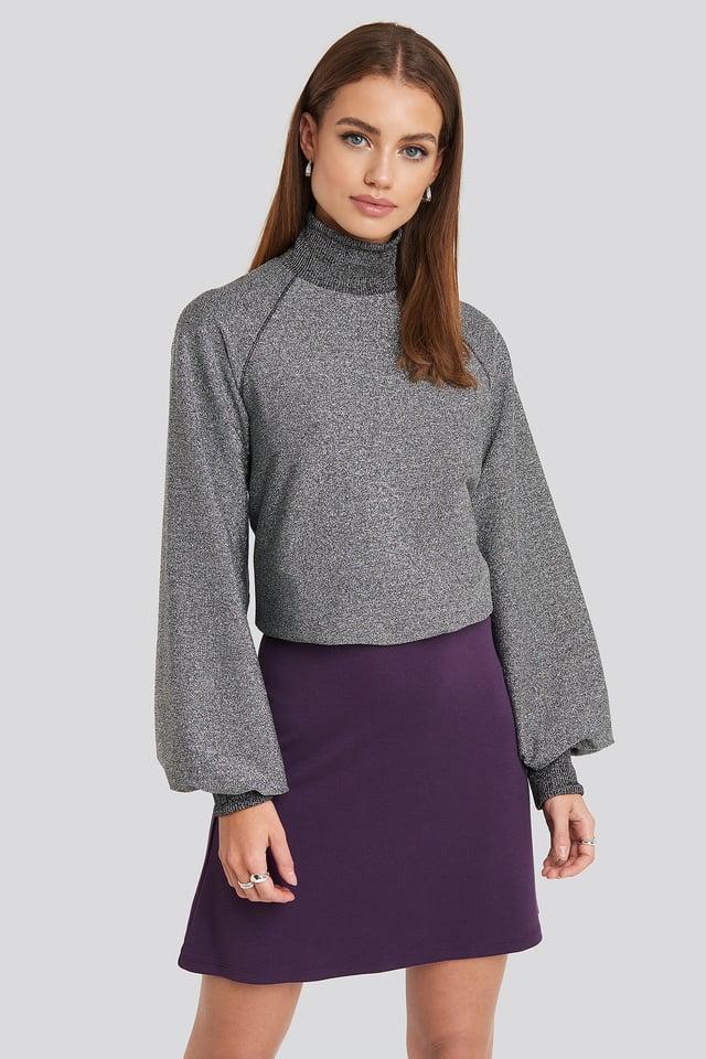 Purple High Waist A-Line Skirt