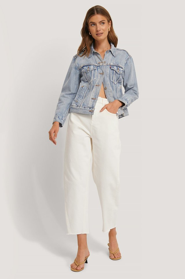 Off White High Waist Barrel Leg Jeans