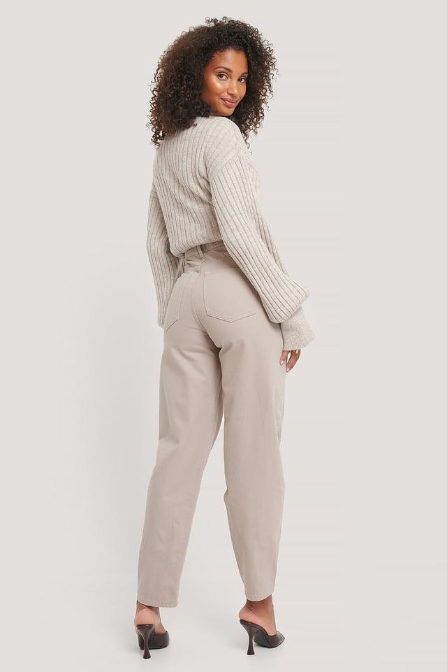 Grey Organic High Waist Barrel Leg Jeans