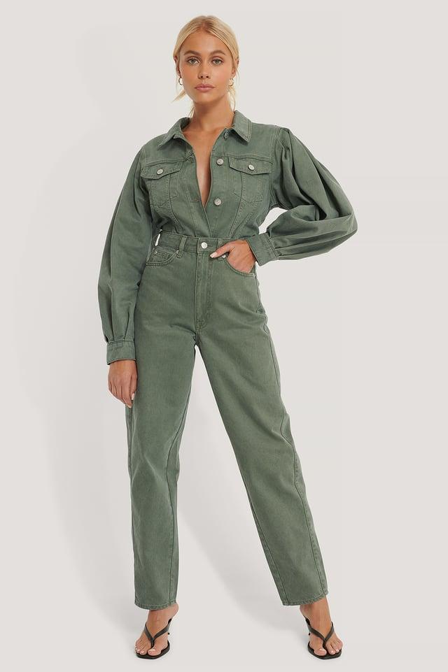 Green Organic High Waist Barrel Leg Jeans