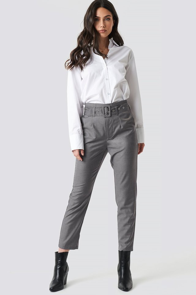 High Waist Belted Pants Grey