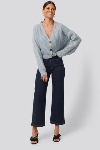 Dark Blue Culotte-Jeans
