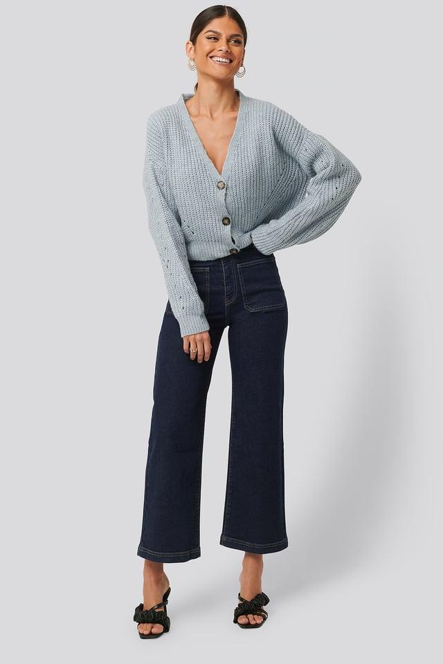 High Waist Big Pocket Culottes Dark Blue