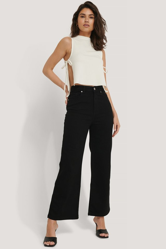 High Waist Culottes Washed Black