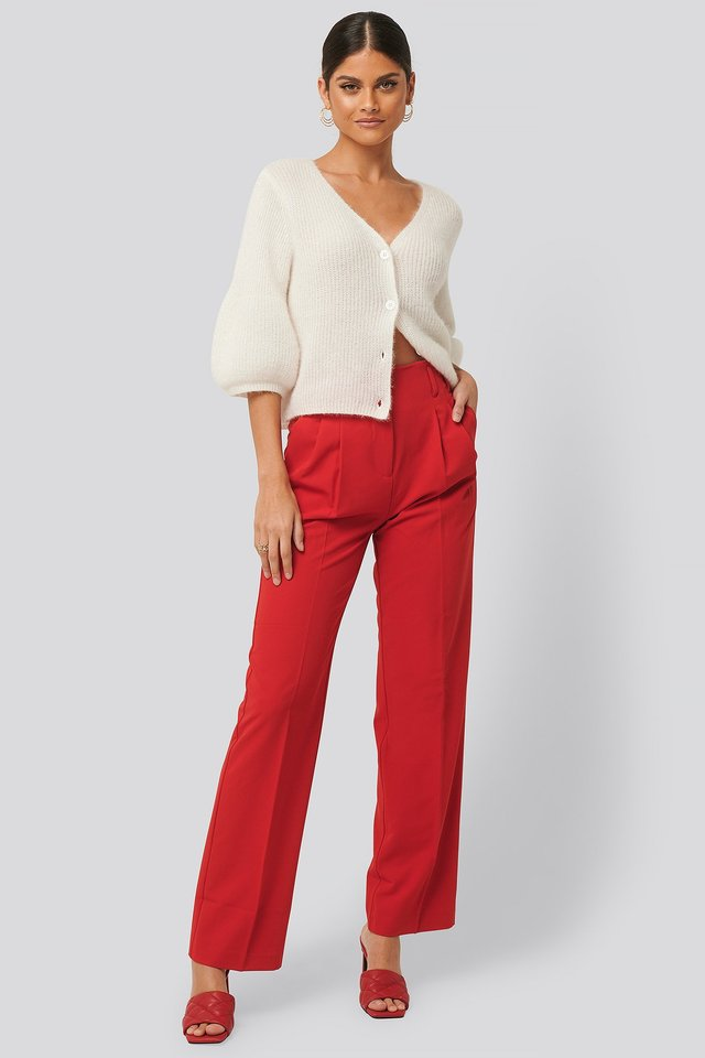 High Waist Darted Pants Red
