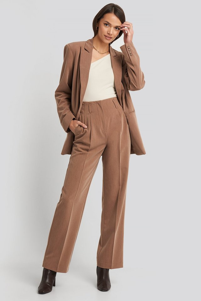 High Waist Darted Pants Dark Beige Melange