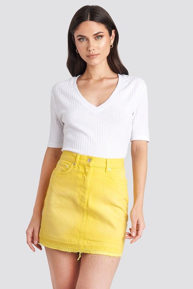 Yellow High Waist Denim Mini Skirt