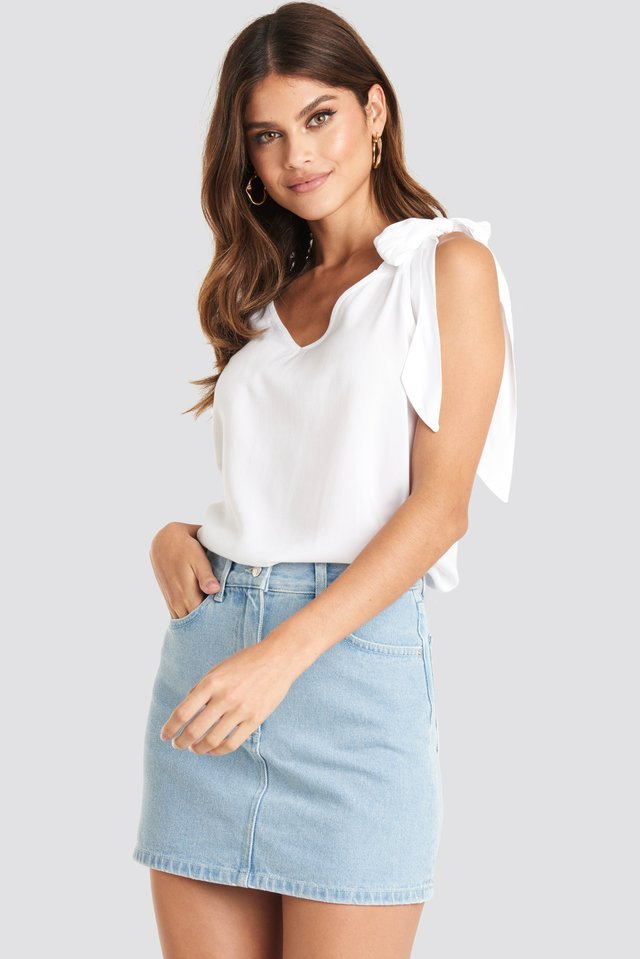 High Waist Denim Mini Skirt Light Blue Wash