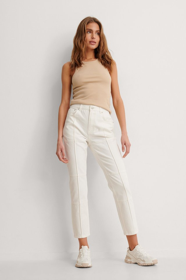 Ecru Organic High Waist Detail Seam Denim