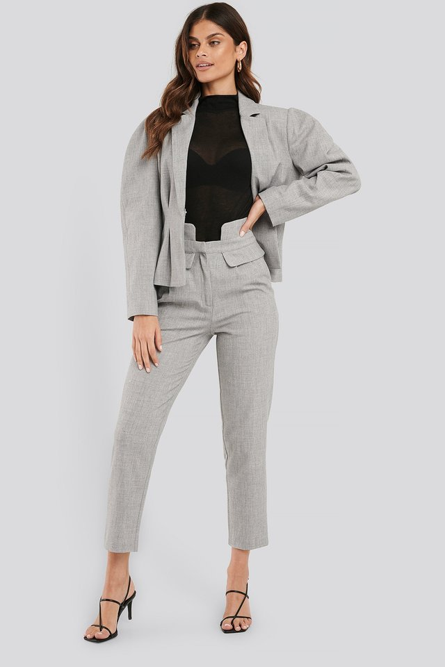 Grey High Waist Detailed Pants