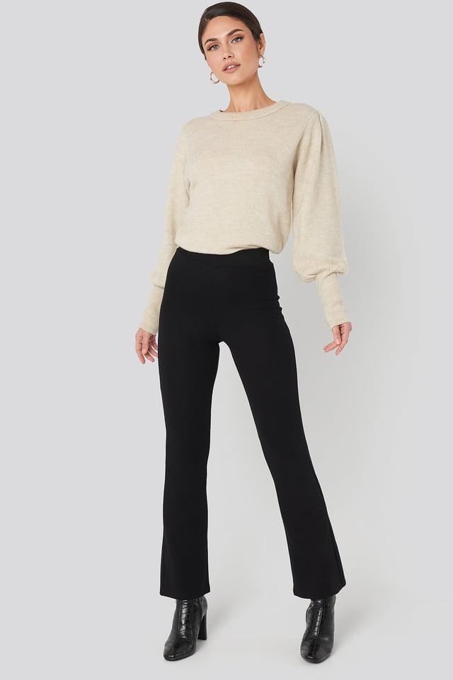 High Waist Flare Jersey Pants Black