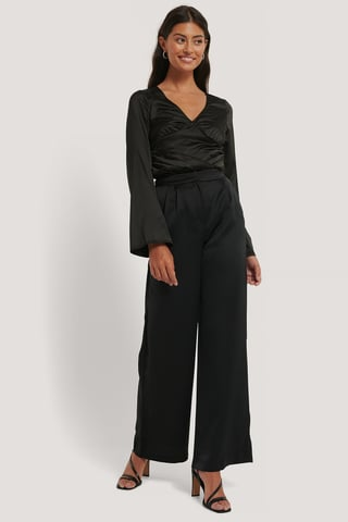 Black High Waist Flowy Pants