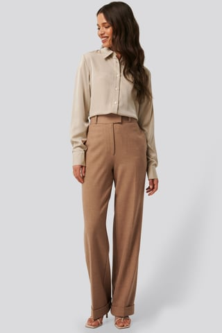 Dark Beige High Waist Folded Suit Pants