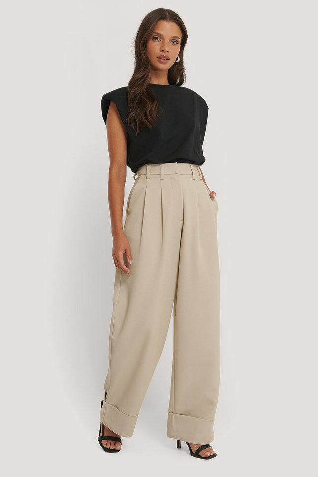 High Waist Folded Twill Pants Sand