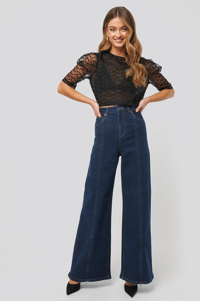 High Waist Front Slit Super Wide Jeans Indigo