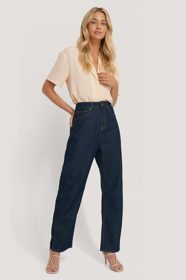 Dark Blue High Waist Oversized Jeans