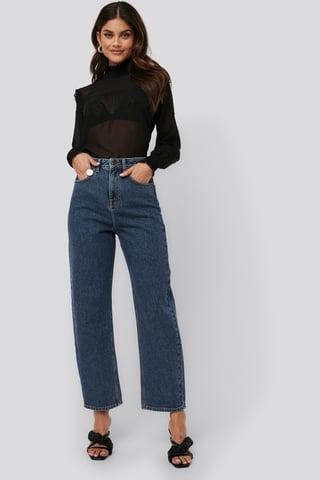 Mid Blue High Waist Oversized Jeans