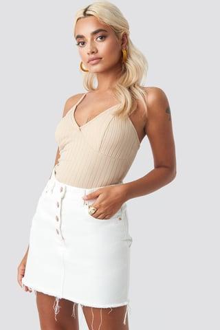 Off White High Waist Raw Hem Denim Skirt